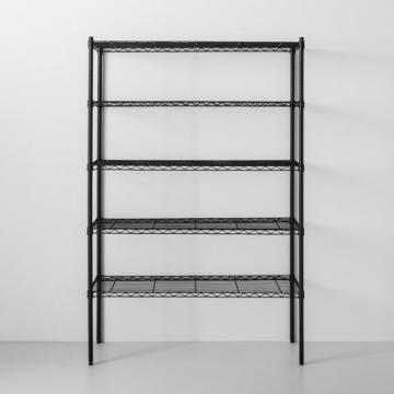 Yuan Da Black Steel Wire Shelving 5 Shelf Home Storage Organization Office Store Shelves